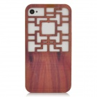Traditional Chinese Door Style Hollow Out Protective Plastic Back Case for Iphone 4 / 4S - Brown