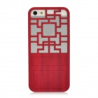 Traditional Chinese Door Style Hollow Out Protective Plastic Back Case for Iphone 5 - Red
