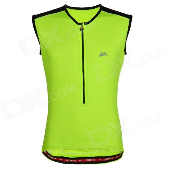 Veobike Cycling Riding Polyester Vest for Men - Fluorescent Green (Size L) arsuxeo ar608s quick drying cycling polyester jersey for men fluorescent green black l