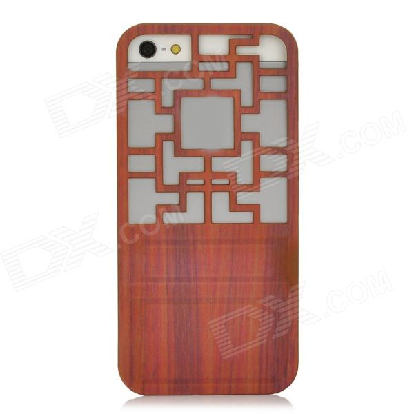 Traditional Chinese Door Style Hollow Out Protective Plastic Back Case for Iphone 5 - Brown a1lj hollow out butterfly style protective plastic back case for iphone 5 5s blue purple