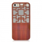 Traditional Chinese Door Style Hollow Out Protective Plastic Back Case for Iphone 5 - Brown