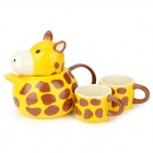 Cartoon Giraffe Style Ceramics Coffee Cup Couple Set - Yellow (4 PCS)