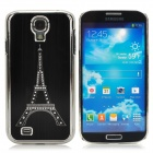 Eiffel Tower Style Brushed Aluminum Alloy Rhinestone Back Case for Samsung Galaxy S4 i9500 - Black