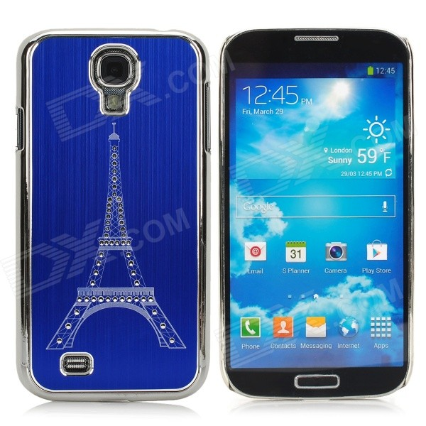 Eiffel Tower Style Brushed Aluminum Alloy Rhinestone Back Case for Samsung Galaxy S4 i9500 - Blue protective brushed aluminum alloy back case for samsung galaxy s4 i9500 claret