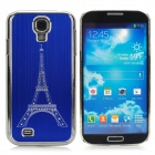 Eiffel Tower Style Brushed Aluminum Alloy Rhinestone Back Case for Samsung Galaxy S4 i9500 - Blue