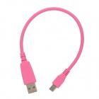 USB 2.0 Male to Micro USB Male Data Cable for Samsung i9500 / i9300 / V8 - Pink (25CM)