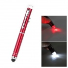 MY-05 3mW 650nm Red Laser Pointer + 1-LED White Flashlight + Black Ink Stylus Pen - Red
