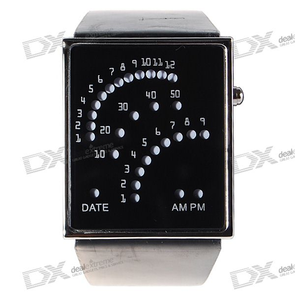 Leather Band 29-LED Date Time Fashion Wrist Watch (2*CR2016)
