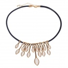 Fashionable Shiny 18K Gold Plating + Opal + PU Cat's Eye Style Pendant Necklace - Golden + Black
