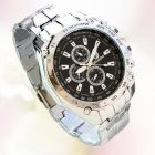 Stylish 3-Dial 6-Needle Steel Alloy Band Quartz Analog Watch for Men - Silver + Black (1 x SR626SW)