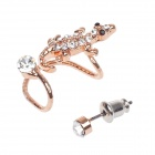 Cool Gecko Style Copper Alloy Earrings w/ Round Rhinestone - Golden + Silver (2 PCS)