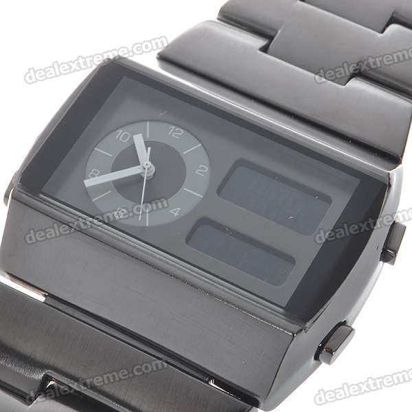 Stainless Steel Dual Time Zone Fashion Wrist Watch with Weekday Display (1*CR2016)
