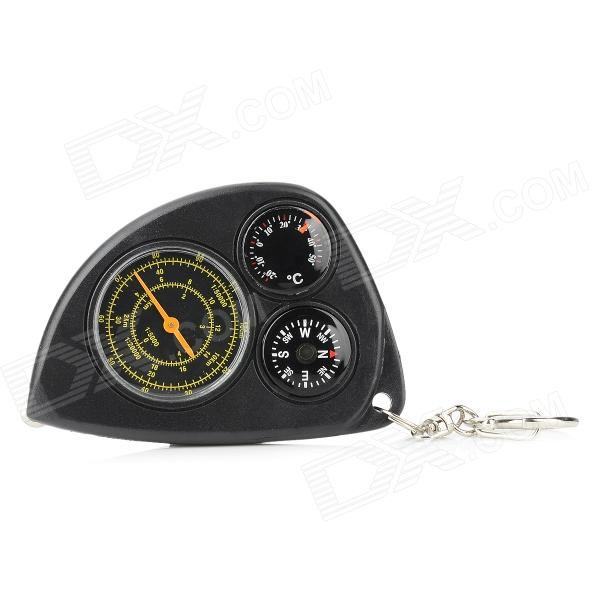 Portable Plastic Multifunction Compass w/ Thermometer / Distance Meter / Keyring - Black вейдерсы мужские fisherman nova tour аэр v2 цвет хаки 95942 530 размер m 50