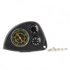 Portable Plastic Multifunction Compass w/ Thermometer / Distance Meter / Keyring - Black