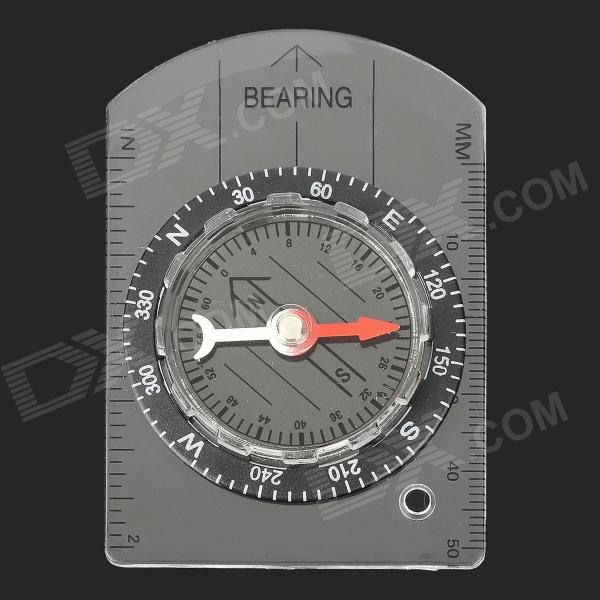 DC35-1B Plastic Analog Compass w/ Scale + Strap - Transparent + Black