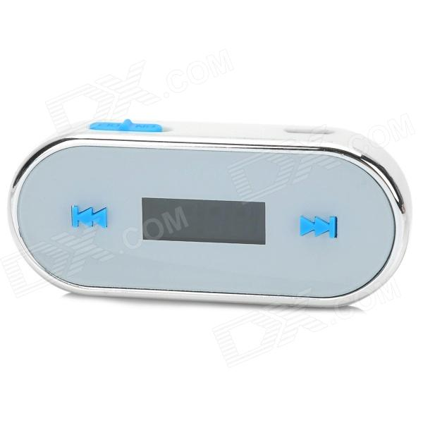 "0.8"" LCD Rechargeable Car FM Transmitter for Iphone 5 / HTC - Black + Silver + Blue (3.5mm Plug)"