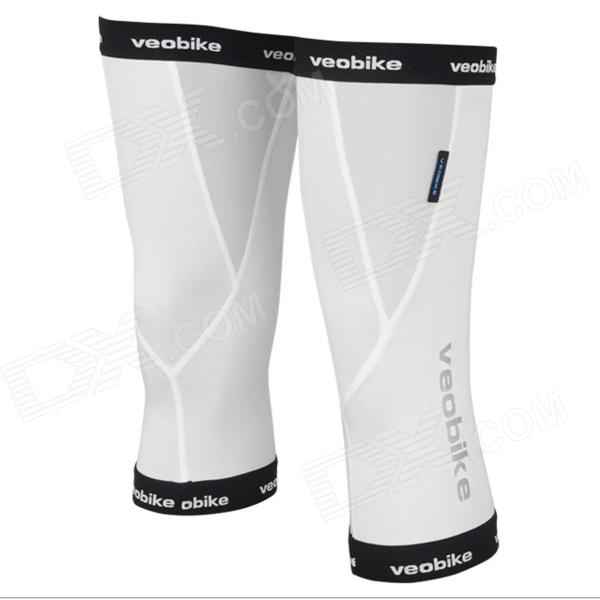 Veobike Highly-Flexible Outdoor Cycling Knee Support - White + Black (Pair / Size-L) sahoo 45516 outdoor cycling polyester sunproof sleeve cover white blue multicolored l pair