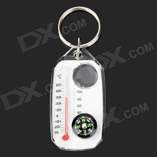 Portable Multifunction Analog Compass / Magnifier / Thermometer - Translucent White + Black