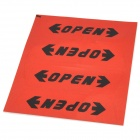"Reflective ""OPEN"" Car Anti-Crash Door Guard Protectors Sticker - Red + Black (4 PCS / 10 x 3cm)"