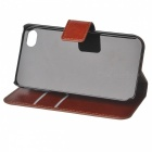 Protective PU Leather Flip-Open Case for IPHONE 4 / 4S - Brown