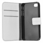 Protective PU Leather Flip-Open Case for Iphone 4 / 4S - White