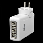 5-Port USB + US Plugs Power Charger Adapter for Iphone 5 / Ipad MINI + More - White