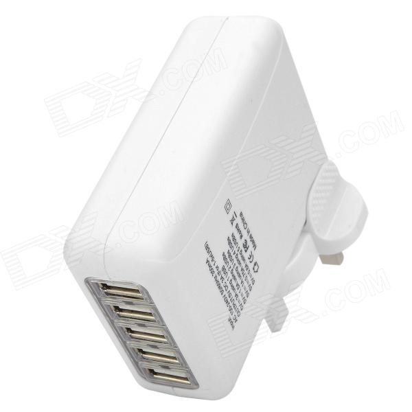 5-Port USB + UK Plug Power Charger Adapter for Iphone 5 / Ipad MINI + More - White 3 port usb ac uk plug power adapter for mobile phone tablet pc white 100 240v