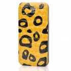 Crocodile Skin Pattern Protective PU Leather + Plastic Flip-Open Case for iPhone 5 - Yellow