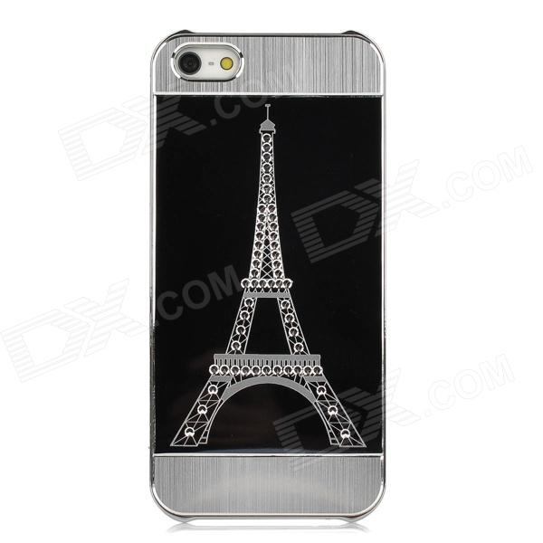 Rhinestone Eiffel Tower Pattern Protective Plastic Back Case for Iphone 5 - Black protective heart shape rhinestone decoration back case for iphone 5 brown