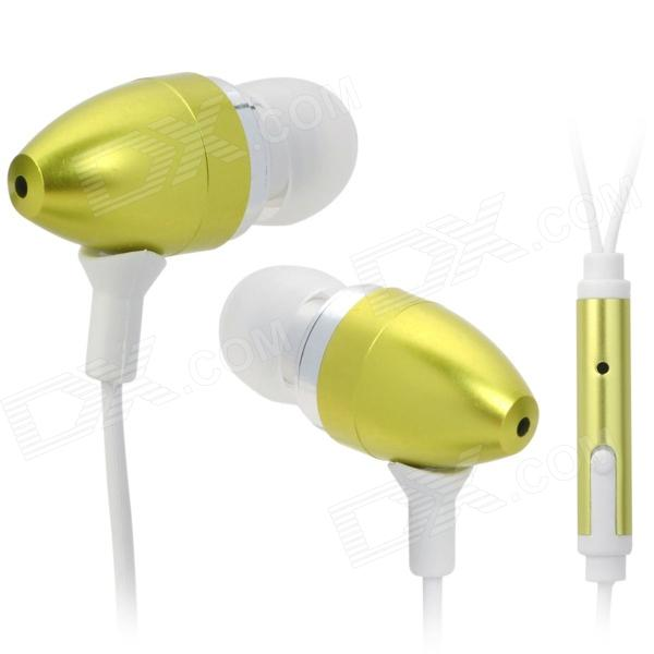 Stylish Bullet Shaped Earphones w/ Microphone for Iphone 4 - Green (3.5mm Plug / 130cm-Cable)
