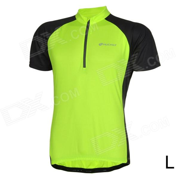 NUCKILY Bike Riding Cycling Short Sleeves Jersey for Men - Fluorescent Green + Black (Size L) шорты animal soft shell bike short mid weight true black