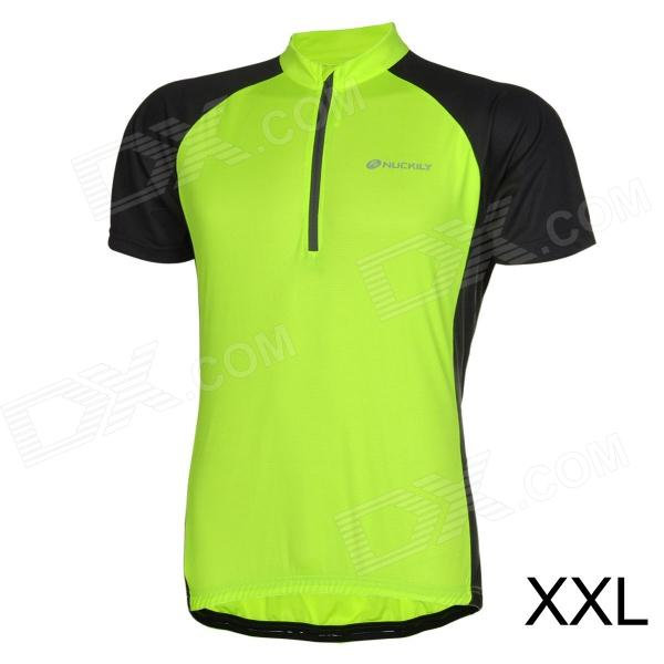 NUCKILY Bike Riding Cycling Short Sleeves Jersey for Men - Fluorescent Green + Black (Size XXL) шорты animal soft shell bike short mid weight true black