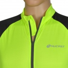 NUCKILY Bike Riding Cycling Short Sleeves Jersey for Men - Fluorescent Green + Black (Size M)