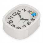 AY12079  Square Silient Movement Quartz Desk Alarm Clock - Black + White