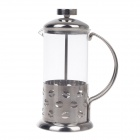Heat-Resistant Borosilicate Glass Tea Ware w/ Filter - Silver (350mL)