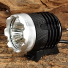 NWE-306 3 x Cree XM-L T6 1400lm 3-Mode White Bicycle Headlamp - Black + Green (4 x 18650)