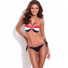 RELLECIGA Stripe Pattern Sexy Figure-Shaping Push-Up Bandeau Bikini Swimsuit (Size L)