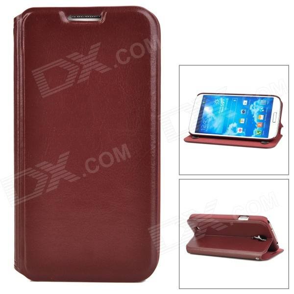 Protective PU Leather Case w/ Card Holder for Samsung Galaxy S4 i9500 - Brown protective pu leather case w card holder for samsung galaxy s4 i9500 brown