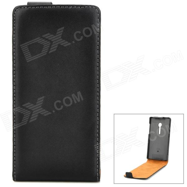 Protective Flip-Open Sheepskin Case for Sony Xperia ion LT28i - Black
