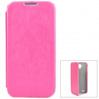 Pudini Protective PU Leather Case w/ Screen Protector for Lenovo A830 - Deep Pink