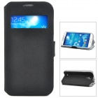 Protective PU Leather Case w/ Display Window for Samsung Galaxy S4 i9500 - Black