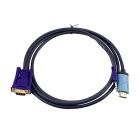 1080P HDMI to VGA Adapter Cable + 3.5mm Audio Output - Steel Blue + Red + Blue (2m)