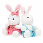 Cute Sweet Lovers Plush Rabbit Doll Toys - White + Pink + Blue (2 PCS)