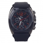 Super Speed V009 Stylish Silicone Band Quartz Analog Wrist Watch for Men - Black + Red (1 x LR626)