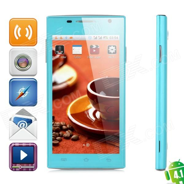 "H3038 Android 4.1 GSM Bar Phone w/ 4.5"" Screen, Quad-Band, Wi-Fi, Dual-SIM and FM - Blue"