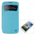 USAMS S4XK02 Caller ID Display PU Leather + PC Case for Samsung Galaxy S4 / i9500 - Turquoise