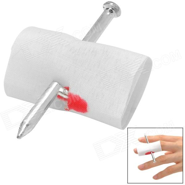Lifelike Nail Though Finger Tick Toy - White + Silver