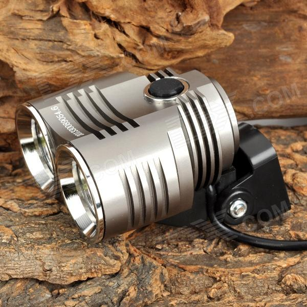LZZ-KR2 1500lm 5-Mode White Bicycle Light w/ 2 x CREE XM-L U2 - Grey (4 x 18650)