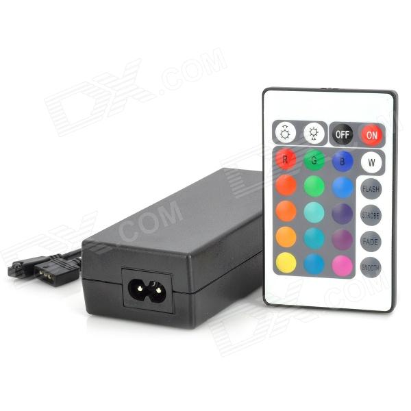 72W LED Light Power Supply Controller w/ 24-Key IR Remote Controller - Black