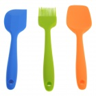 3-in-1 Portable Silicone BBQ Barbecue Brush + Spoon + Scraper Tool Kit - Blue + Green + Orange